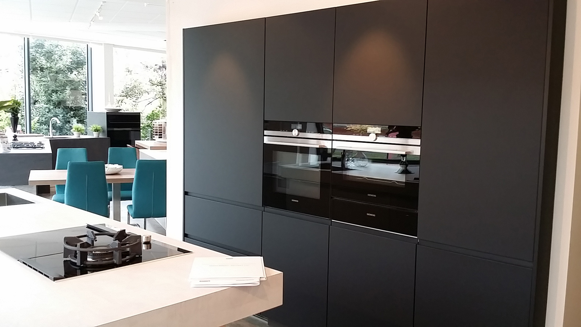 Tinos and Cliff by Rempp with Fenix anti-fingerprint black laminate kitchen