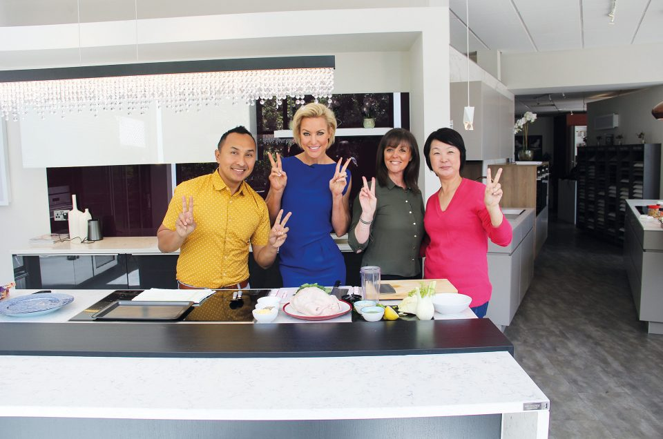 Strictly star Natalie Lowe films with TV team in showroom