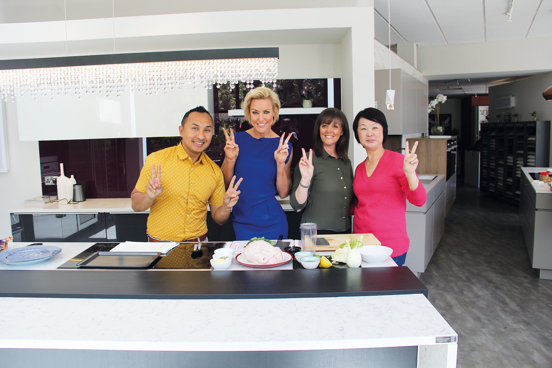 Dancer Natalie Lowe, Chef Norman Musa and Nutritionist Jeannette Jackson at truKitchen kitchen showroom Wilmslow